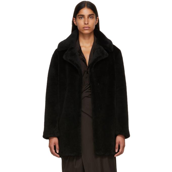 Image of Yves Salomon - Meteo Black Curly Sheep Coat