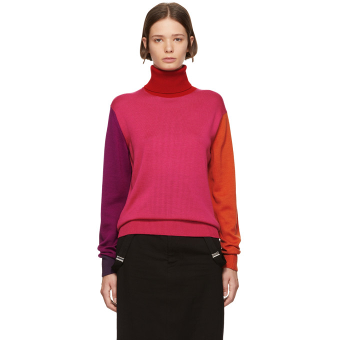FACETASM Colorblock Turtleneck in Pink
