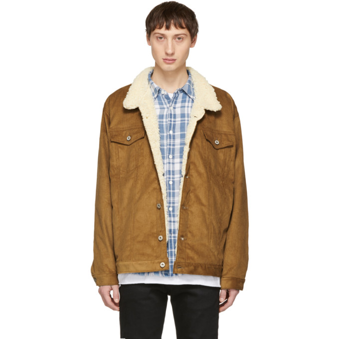 Image of Naked & Famous Denim Brown Oversized Corduroy Sherpa Jacket