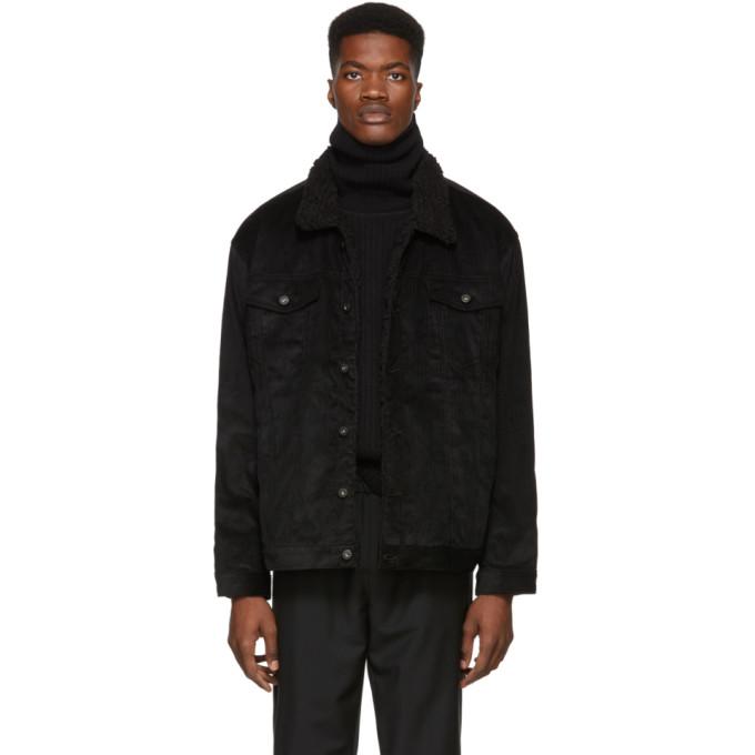 NAKED AND FAMOUS Naked And Famous Denim Black Corduroy Sherpa Oversized Jacket