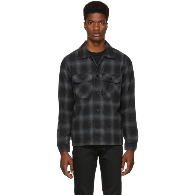 NAKED AND FAMOUS DENIM GREY FLANNEL LUMBERJACK SHIRT