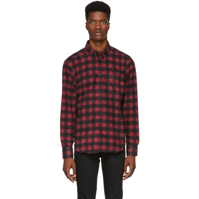 Image of Naked & Famous Denim Red Brushed Buffalo Check Shirt
