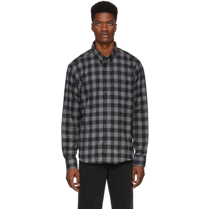 Image of Naked & Famous Denim Grey Brushed Buffalo Check Shirt