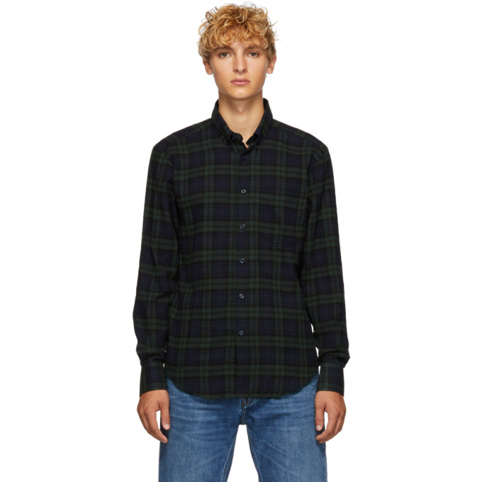 Image of Naked & Famous Denim Green & Navy Check Shirt