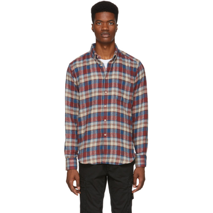 NAKED AND FAMOUS Naked And Famous Denim Red And Beige Rustic Nep Flannel Easy Shirt in Redcream