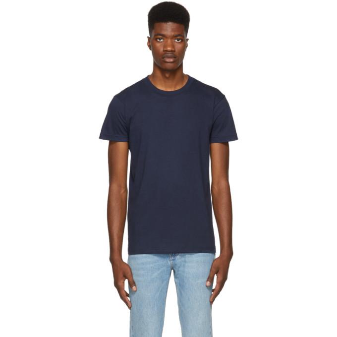 Image of Naked & Famous Denim Blue Ringspun Cotton T-Shirt