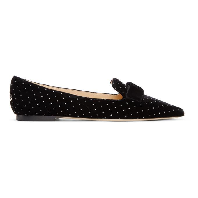 Jimmy Choo Black & Silver Velvet Spotted Loafers