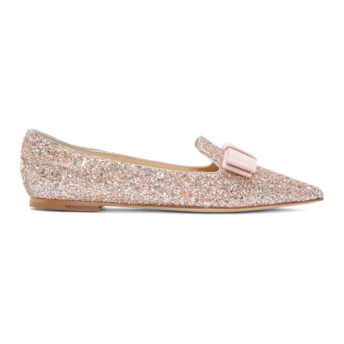 Jimmy Choo Pink Glitter Gala Star Loafers