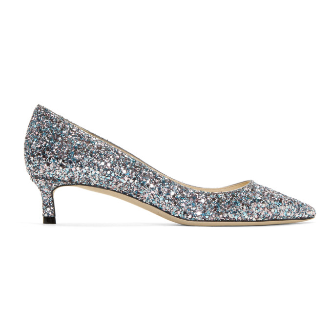 Jimmy Choo Pink & Blue Glitter Romy 40 Heels