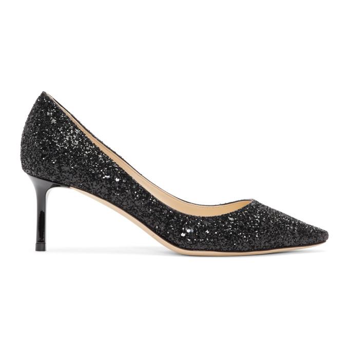 Jimmy Choo Black Glitter Romy 60 Heels