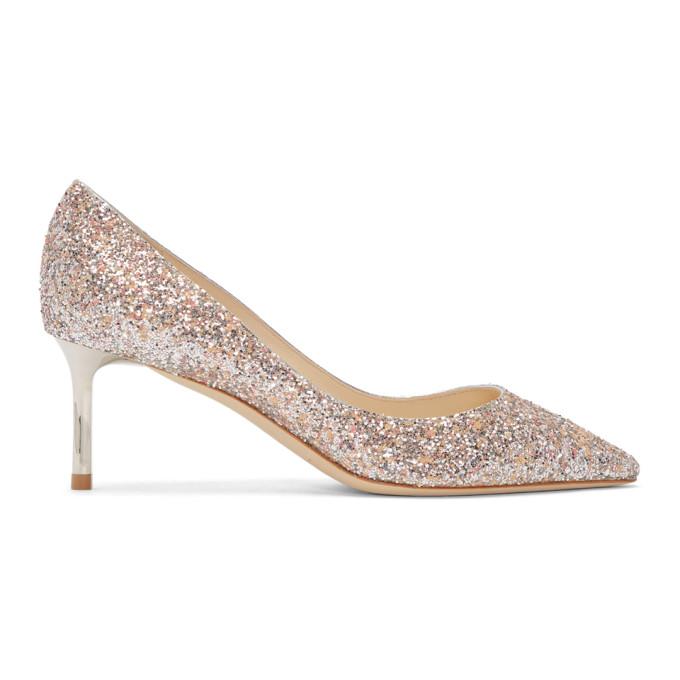 Jimmy Choo Pink Glitter Romy 60 Heels