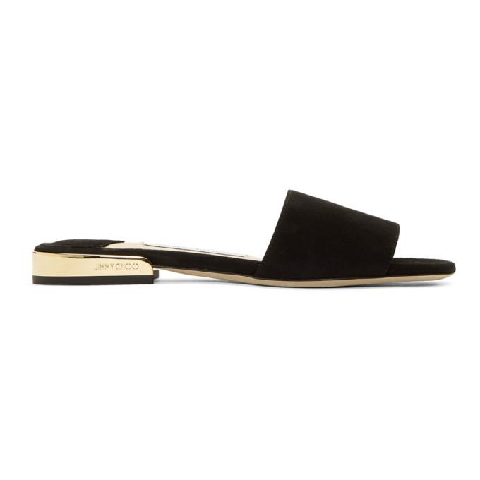 Jimmy Choo Black Suede Joni Flat Sandals