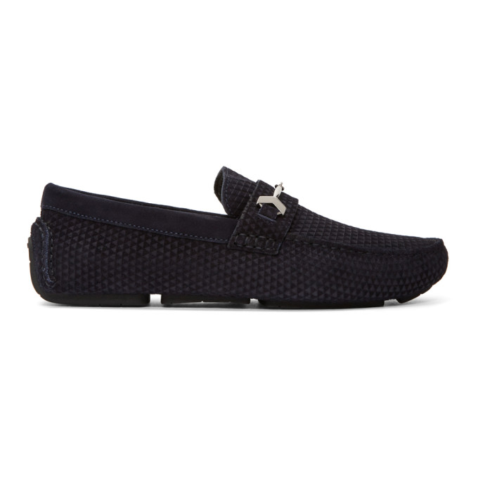 Jimmy Choo Navy Suede Brewer Loafers