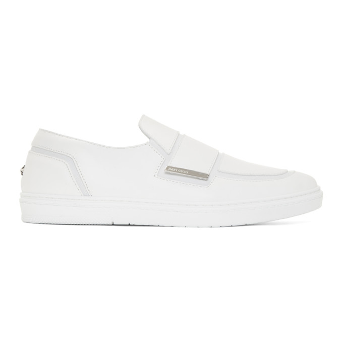 Jimmy Choo White Leather Guy Slip-On Sneakers