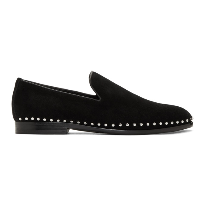 Jimmy Choo Black Suede Studded Marlo Loafers