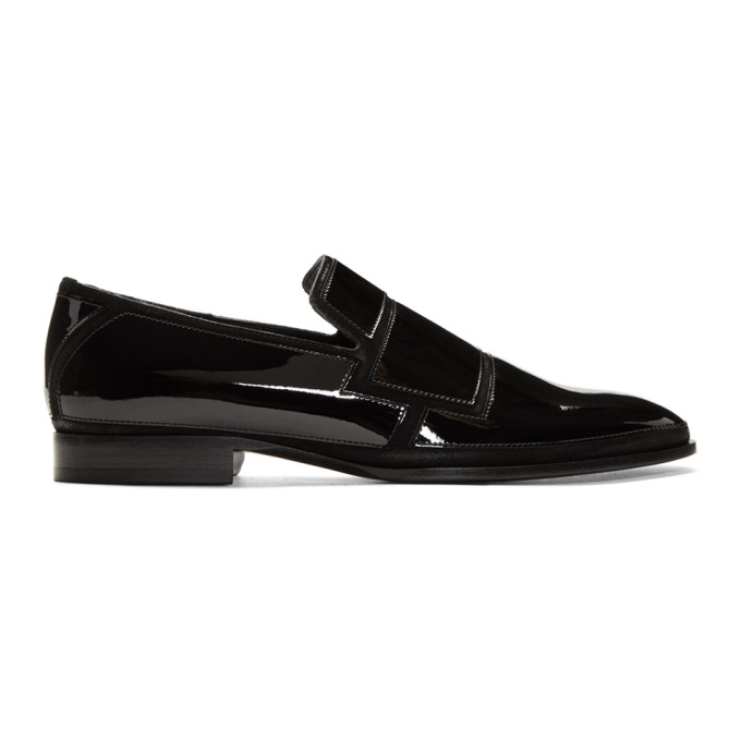 Jimmy Choo Black Patent & Suede Spencer Loafers