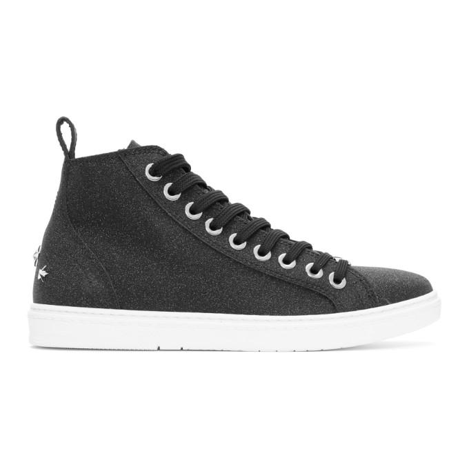 Jimmy Choo Black Glittered Colt Sneakers
