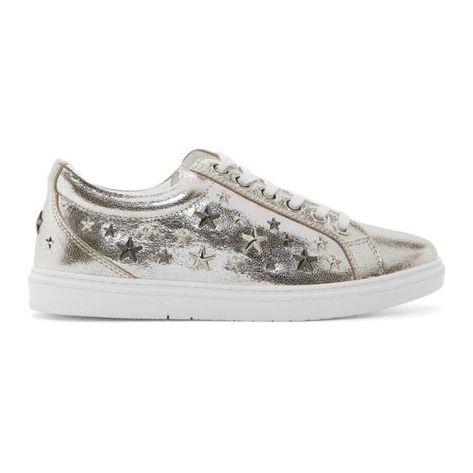 Jimmy Choo Silver Metallic Cash Sneakers