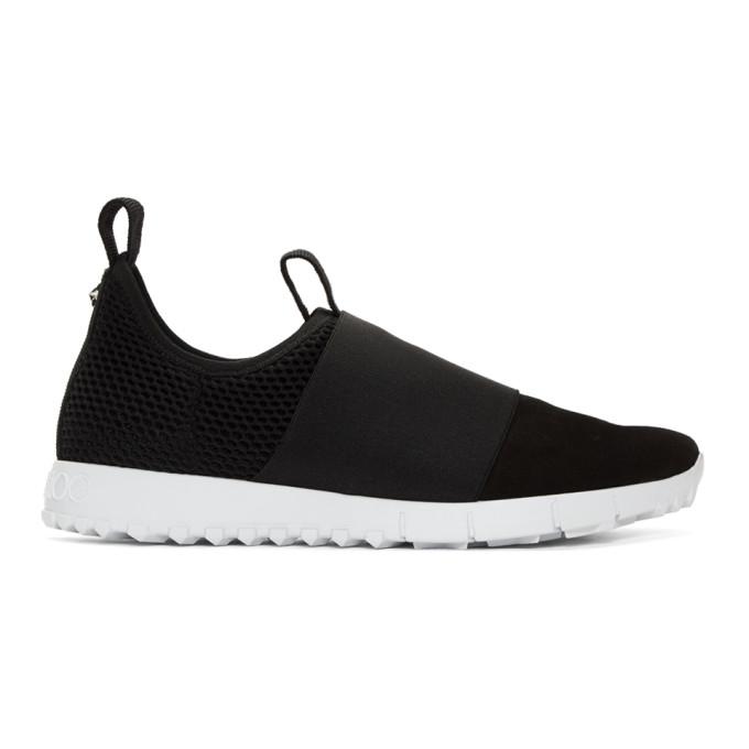 Jimmy Choo Black Suede & Mesh Oakland Slip-On Sneakers