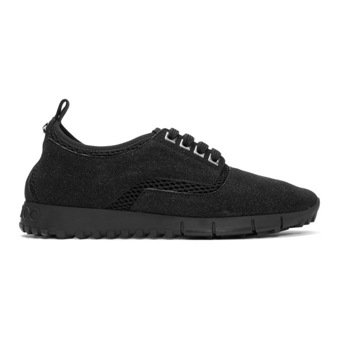Jimmy Choo Black Glitter Suede Jenson Sneakers