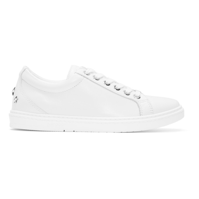 Jimmy Choo White Leather Cash Sneakers