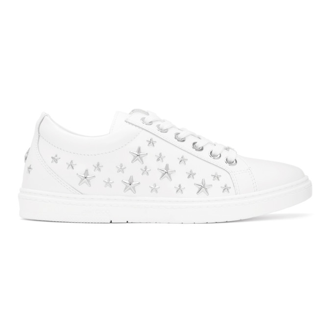 Jimmy Choo White Leather Stars Cash Sneakers