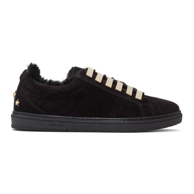 Jimmy Choo Black Suede & Fur Cash Sneakers