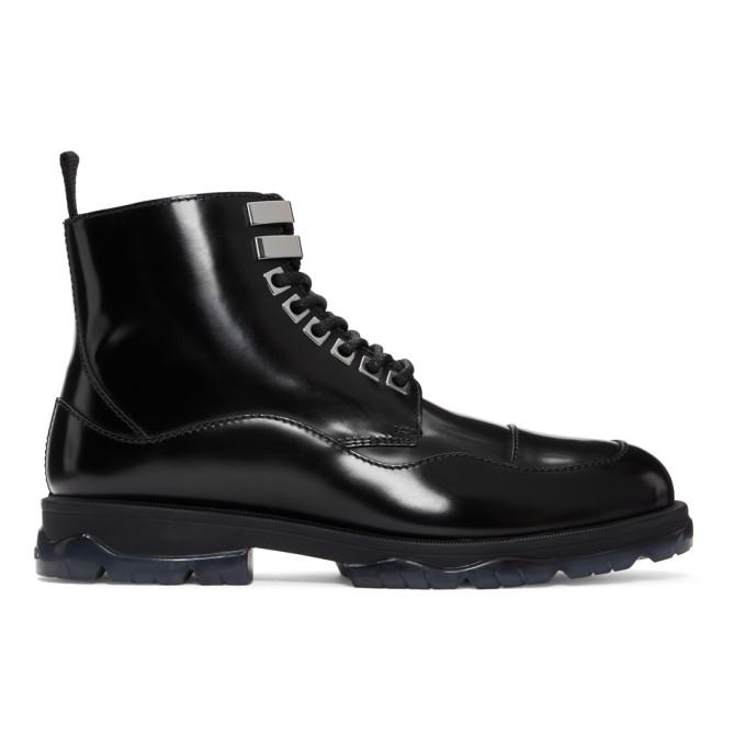 Jimmy Choo Black Leather & Shearling Baldwyn Boots