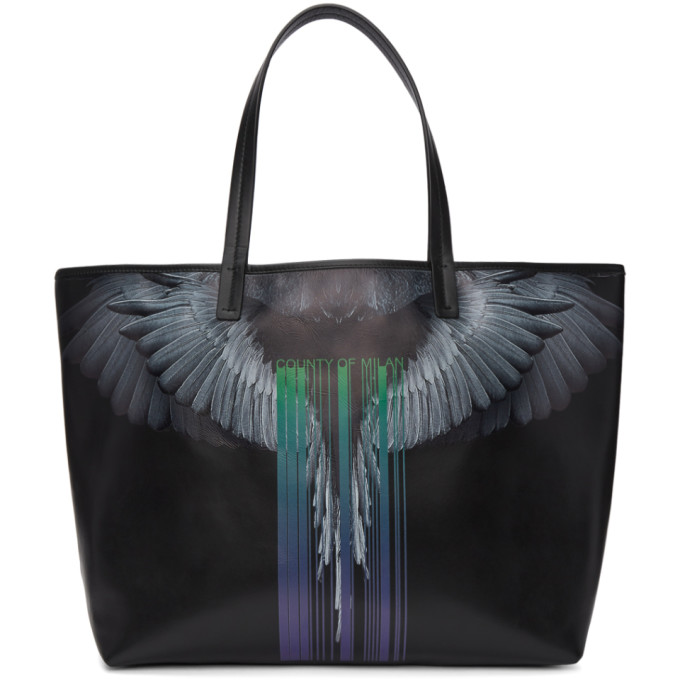 Marcelo Burlon County of Milan Black Wings Barcode Tote