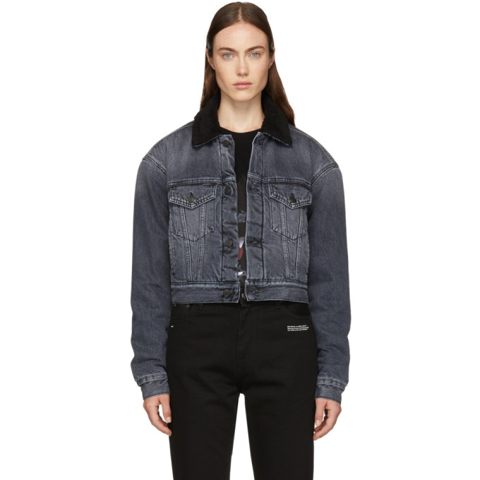 Marcelo Burlon County Of Milan Embroidered Design Fur Denim Jacket in Black White