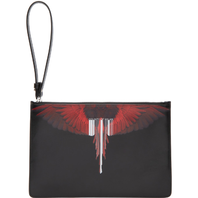 Marcelo Burlon County of Milan Black & Red Wing Barcode Pouch