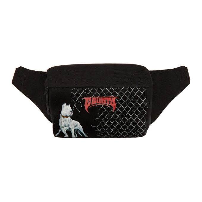 Marcelo Burlon County of Milan Black Dogo Fanny Pouch