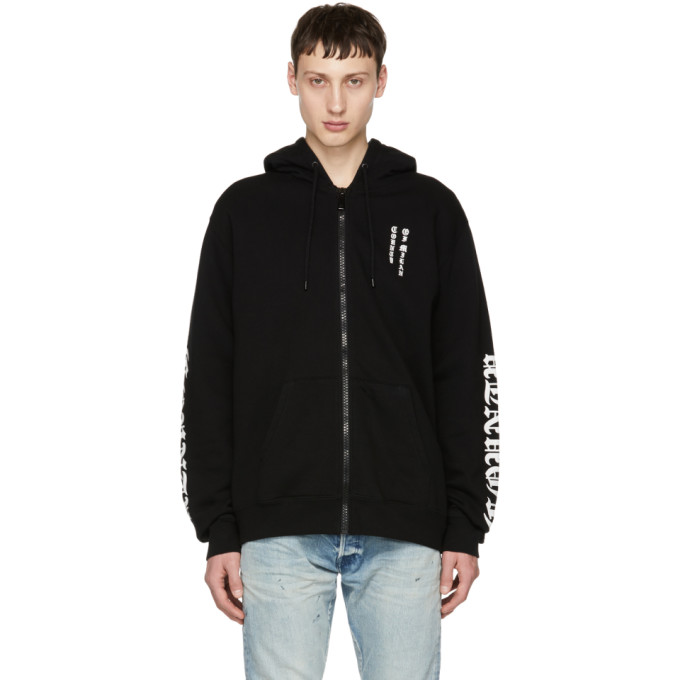 Marcelo Burlon County of Milan Black Logo Zip Hoodie
