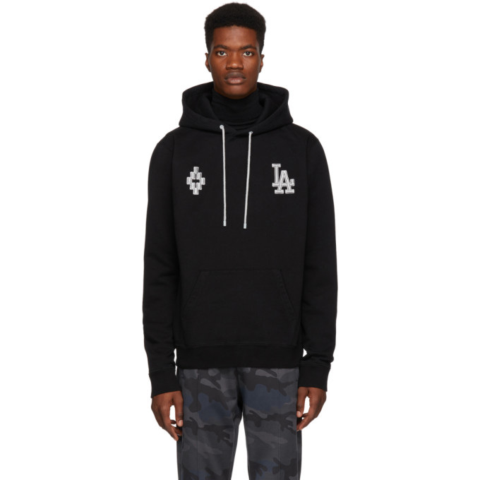 Marcelo Burlon County Of Milan La Dodgers-embroidered Cotton Hooded Sweatshirt In Blkltgry
