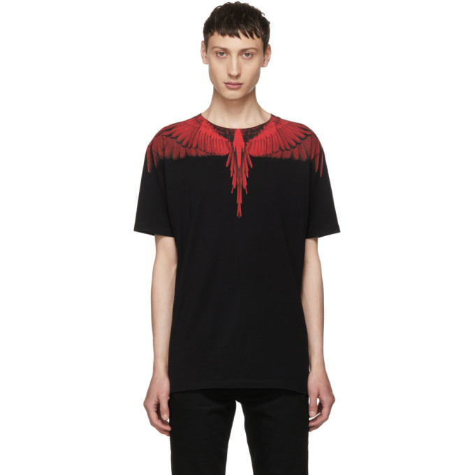 Marcelo Burlon County of Milan Black & Red Wing T-Shirt