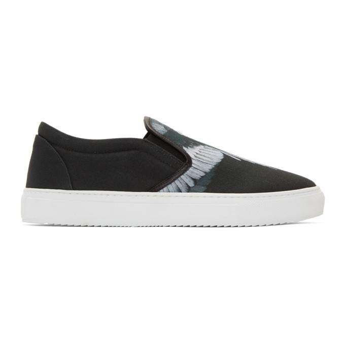 Marcelo Burlon County of Milan Black & Grey Wing Slip-On Sneakers