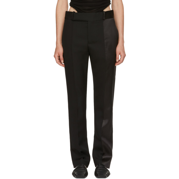 Satin-Paneled Wool Straight-Leg Pants in Black