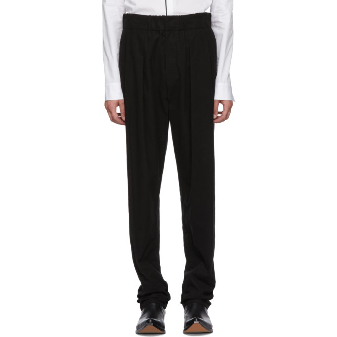 Image of Haider Ackermann Black Elasticized Waistband Trousers