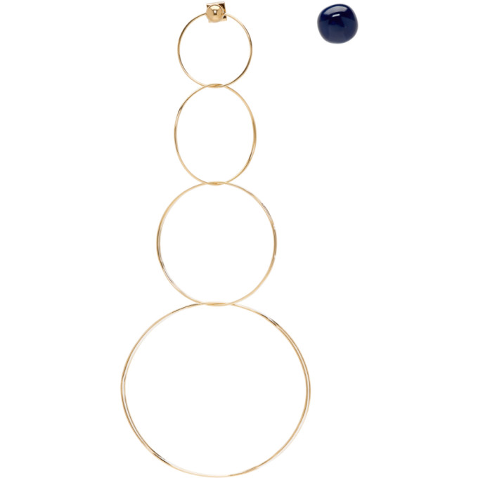Jacquemus JACQUEMUS GOLD AND NAVY LES BOUCLES SORAYA EARRINGS