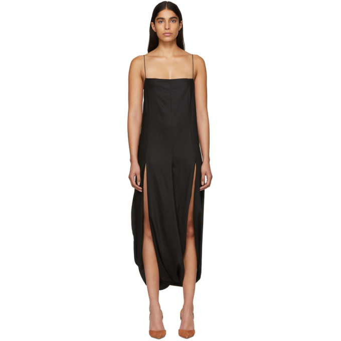 Side Slit Jersey Maxi Dress in Black