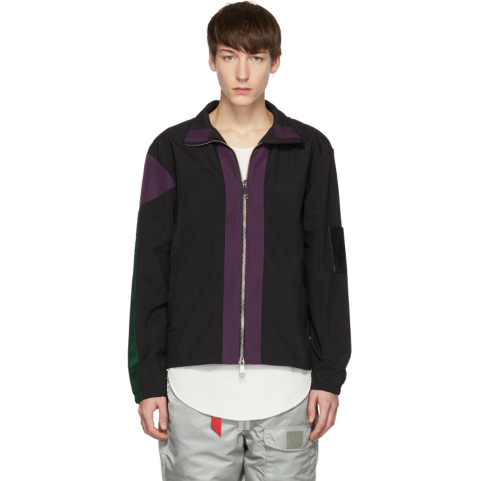 PYER MOSS Pyer Moss Black And Purple Classic Track Jacket in Blk/Pur/Gre