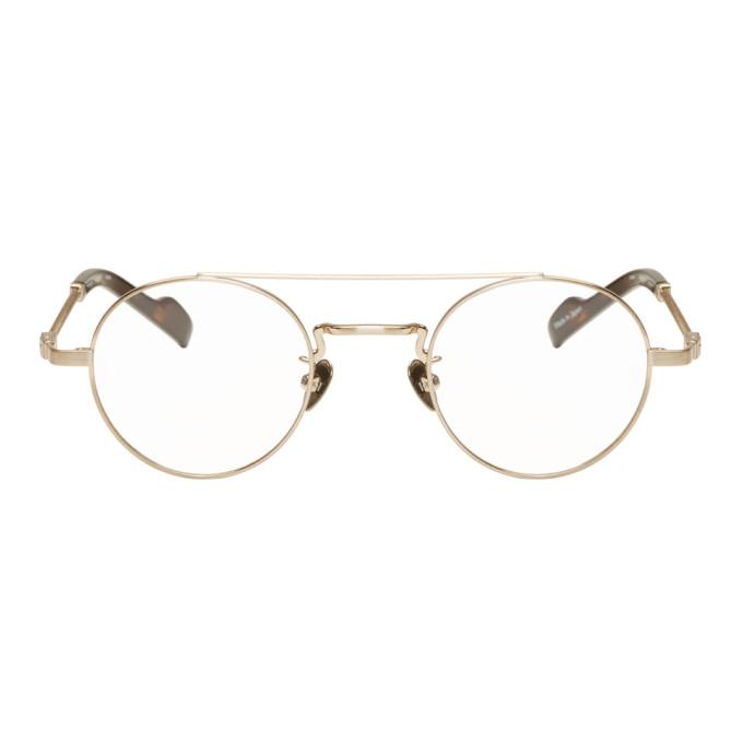 Image of Yohji Yamamoto Gold & Tortoiseshell Braided Round Glasses
