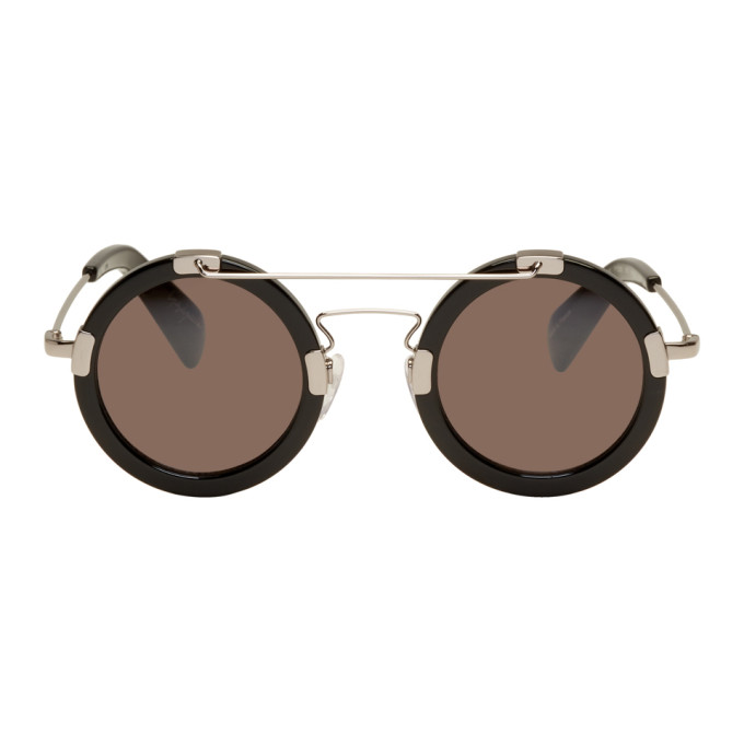 Image of Yohji Yamamoto Black Round Double Bridge Sunglasses