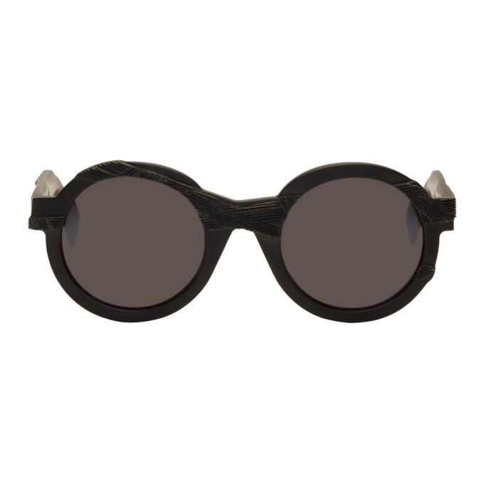 Image of Yohji Yamamoto Black Round Disformed Sunglasses