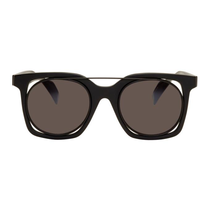 Image of Yohji Yamamoto Black Square Wire Frame Sunglasses