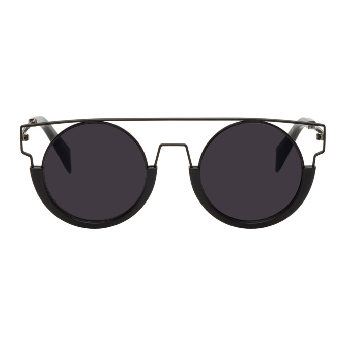 Image of Yohji Yamamoto Black Round Wire Frame Sunglasses