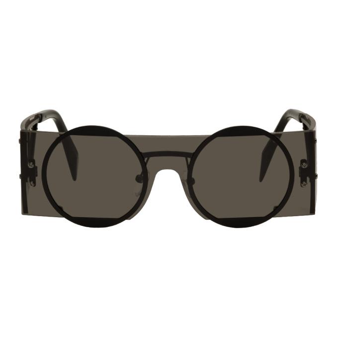 Image of Yohji Yamamoto Black Rectangular Sunglasses