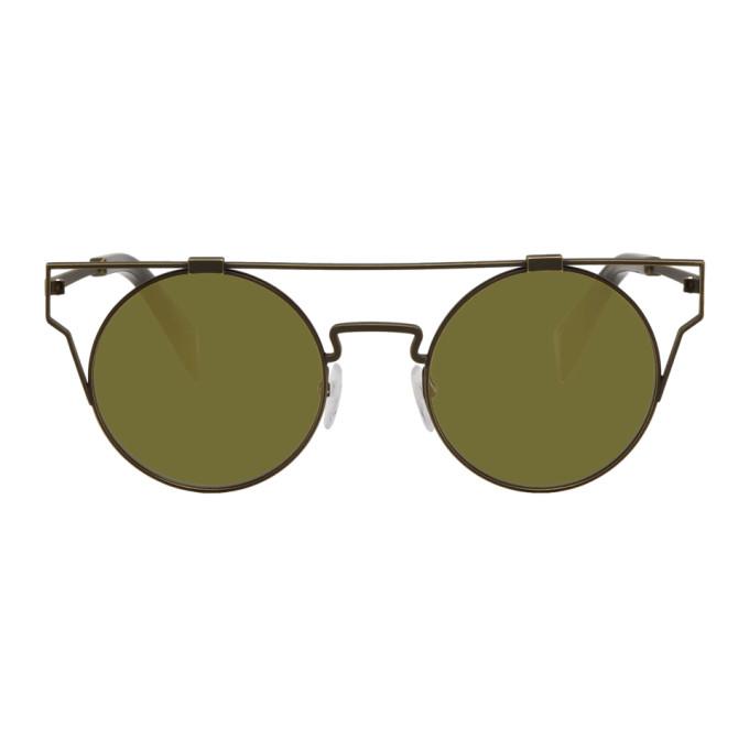 Image of Yohji Yamamoto Gold Round Wire Frame Sunglasses