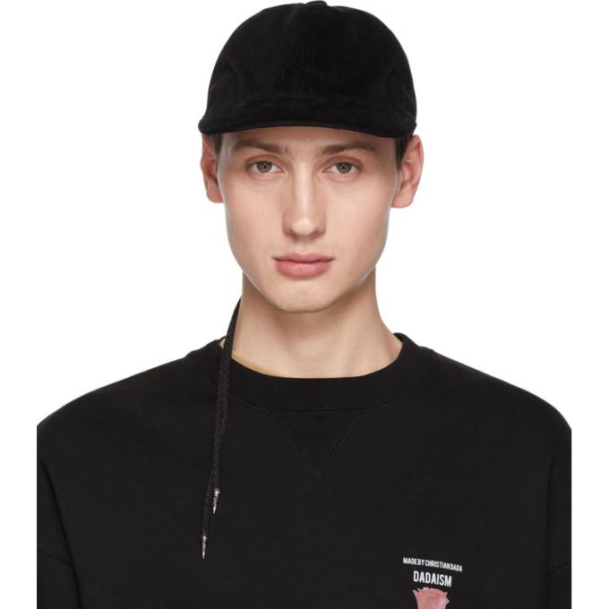 CHRISTIAN DADA BLACK CORDUROY BACK LACE-UP CAP