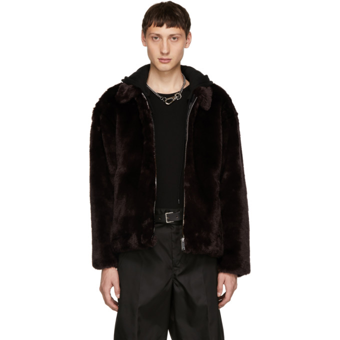 Image of Christian Dada Brown Faux-Fur Jacket